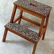 Табуреты ручной работы. Ярмарка Мастеров - ручная работа Табурет-лестница стремянка леопард. Handmade.