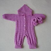 Работы для детей, handmade. Livemaster - original item Knitted jumpsuit with a hood and booties. Handmade.