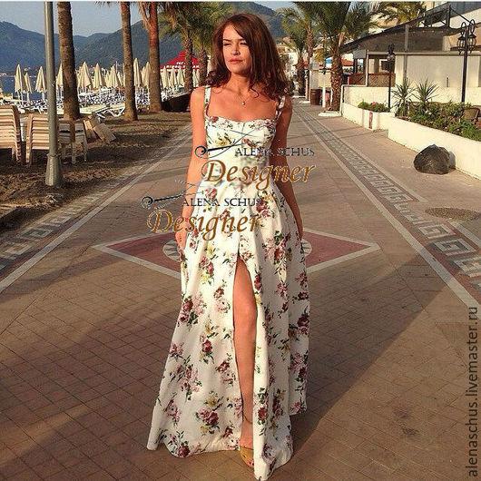 Платья ручной работы. Ярмарка Мастеров - ручная работа. Купить Платье сарафан длинное в пол. Handmade. Белый, платье длинное