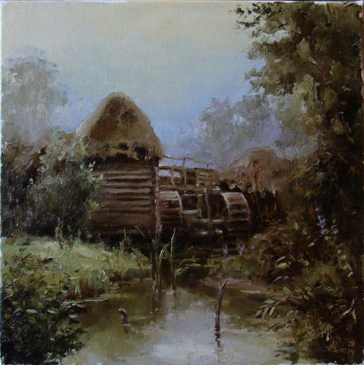 """Пейзаж ручной работы. Ярмарка Мастеров - ручная работа. Купить Картина маслом """"Старая мельница в лесу"""" (пейзаж). Handmade."""