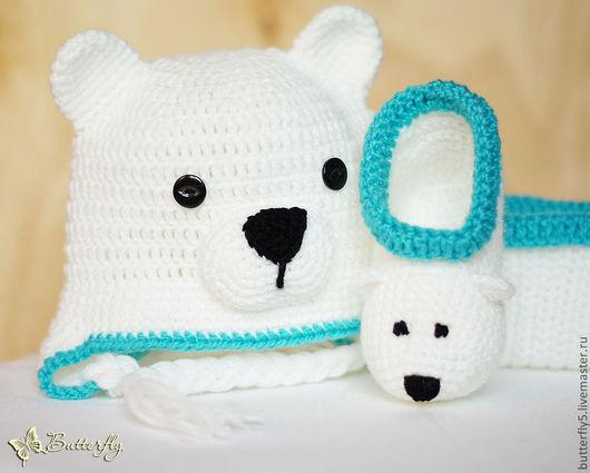 Для новорожденных, ручной работы. Ярмарка Мастеров - ручная работа. Купить Белый мишка - комплект для новорожденных. Handmade. Белый