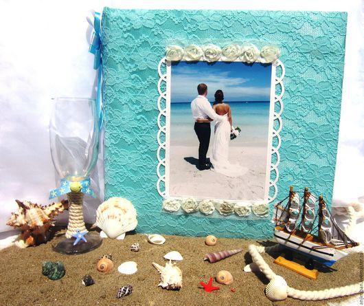 """Свадебные фотоальбомы ручной работы. Ярмарка Мастеров - ручная работа. Купить Альбом """"Свадебный"""". Handmade. Голубой, Скрапбумага, вырубка, чипборды"""