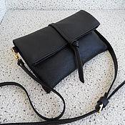 Клатчи ручной работы. Ярмарка Мастеров - ручная работа ЖАКЛИН черная кожаная сумочка-клатч, минимализм. Handmade.