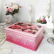 Для дома и интерьера handmade. Livemaster - original item Box made of wood Tulips decoupage pink white delicate. Handmade.