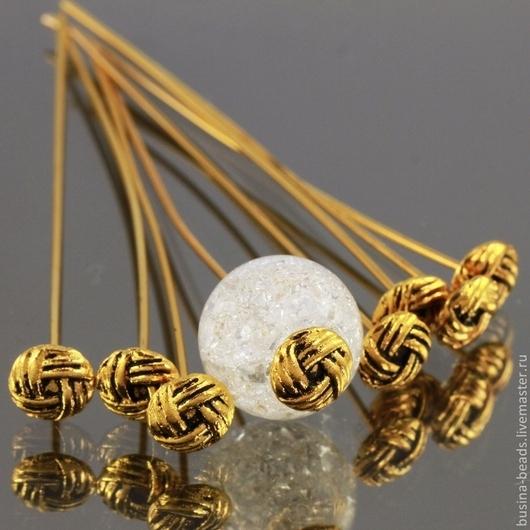 Пины длинные 50 мм с фигурной литой шляпкой с орнаментом в виде переплетения нитей для сборки украшений комплектами по 10 штук\r\nМеталл сплав на основе железа с покрытием античное золото