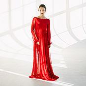 Платья ручной работы. Ярмарка Мастеров - ручная работа Красное будуарное платье Руби. Handmade.