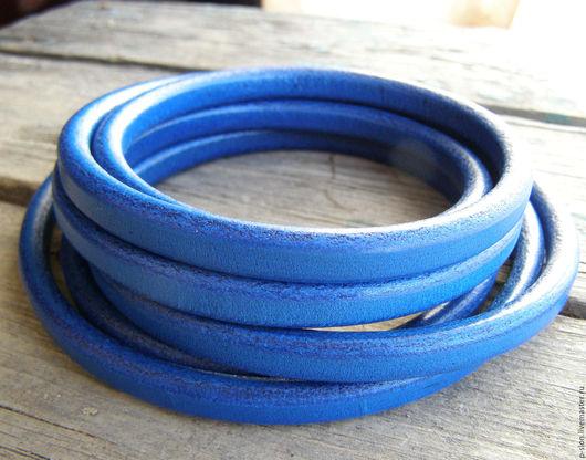 Для украшений ручной работы. Ярмарка Мастеров - ручная работа. Купить Шнур кожаный для regaliz (регализ) синий 10х6мм. Handmade.