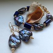 Украшения handmade. Livemaster - original item Set of black pearls