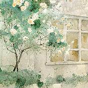 Картины и панно handmade. Livemaster - original item Watercolor painting of a rose bush (emerald, gray, white). Handmade.