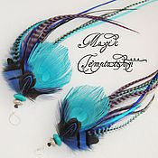 Украшения handmade. Livemaster - original item Brightly coloured feather earrings.. Handmade.