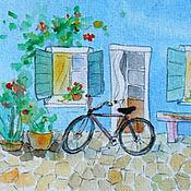 Картины и панно handmade. Livemaster - original item Murano. Bike Little watercolor. Handmade.