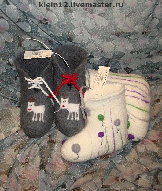 Обувь ручной работы. Ярмарка Мастеров - ручная работа. Купить Для Ванечки и Танечки. Handmade. Валеночки, красный