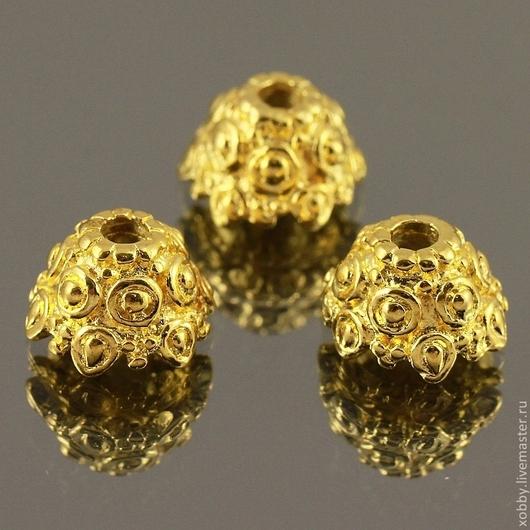 Шапочки для бусин в тибетском стиле с объемным орнаментом по поверхности в виде шишечек bumps для использования в сборке украшений\r\nМатериал сплав\r\nЦвет имитация под золото