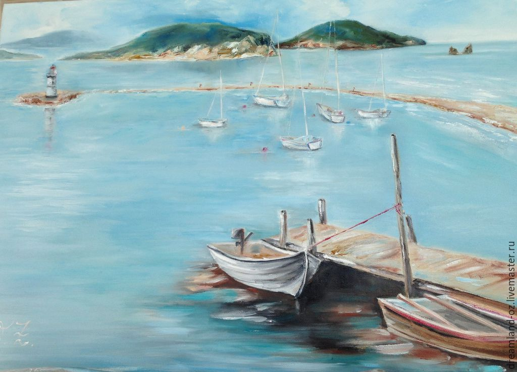 Oil painting ' where the blue of the sea... ', Pictures, Vladivostok,  Фото №1