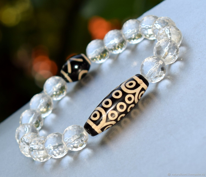 Amulet rhinestone bracelet with beads DZI 21, Bead bracelet, Moscow,  Фото №1