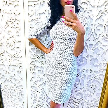 Одежда ручной работы. Ярмарка Мастеров - ручная работа Платье-футляр белое. Handmade.