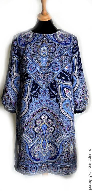 Платья ручной работы. Ярмарка Мастеров - ручная работа. Купить Платье Синяя птица (из платка). Handmade. Синий, этника
