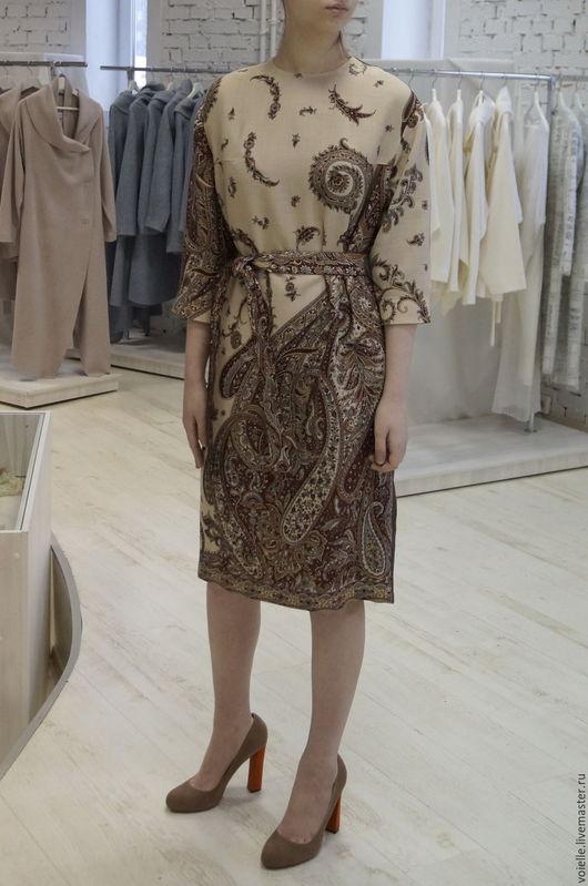 Платье из павлопосадского платка, платье льняное, платье из льна, платье из платка, платье с орнаментом павловопосадский платок, купить платье из платков, платье из платков, платье тёплое