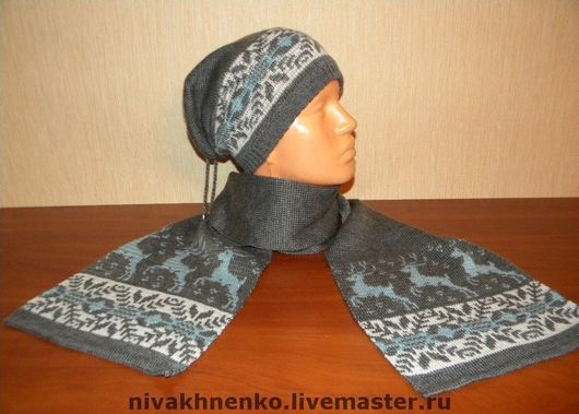 Sets of Items handmade. Livemaster - handmade. Buy Set of knitted hat and scarf with Norwegian onamental.