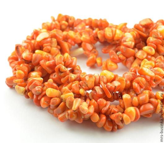 Для украшений ручной работы. Ярмарка Мастеров - ручная работа. Купить Коралл оранжевый, каменная крошка (140 см). Handmade.