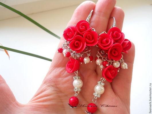 Серьги ручной работы. Ярмарка Мастеров - ручная работа. Купить Серьги роскошные с алыми розами. Handmade. Ярко-красный