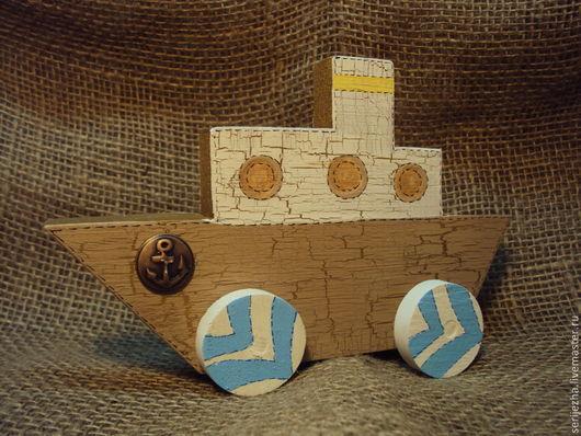 Кораблик-каталка, деревянная игрушка ручной работы, декорированный