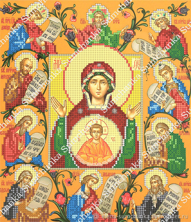 Needlework handmade. Livemaster - handmade. Buy The Virgin Of Kursk Root 'Sign'.Bead embroidery, scheme for embroidery