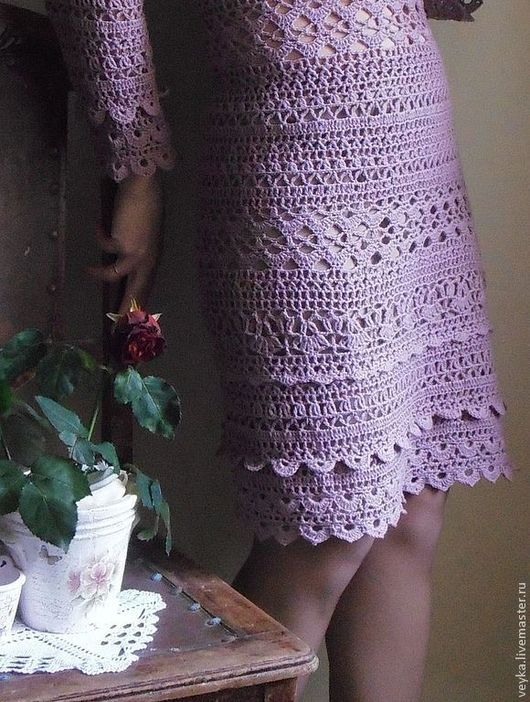 """Платья ручной работы. Ярмарка Мастеров - ручная работа. Купить Вязаное  крючком теплое платье """"Отцвели уж давно.. """". Handmade."""