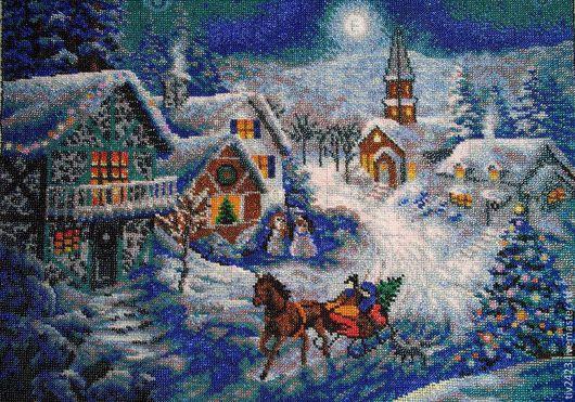 """Пейзаж ручной работы. Ярмарка Мастеров - ручная работа. Купить Картина, вышитая бисером """"Зима"""". Handmade. Картина, пейзаж"""