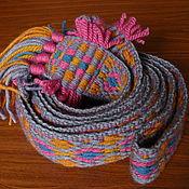 Русский стиль handmade. Livemaster - original item Woven belt with tassels for Men. Handmade.