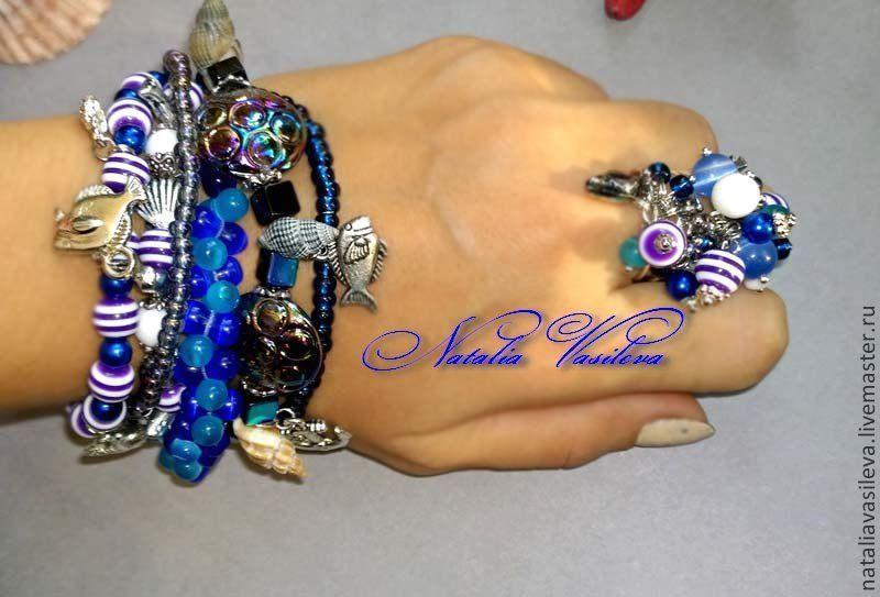 Kit 'Sea' bracelet, earrings, ring, Jewelry Sets, St. Petersburg,  Фото №1