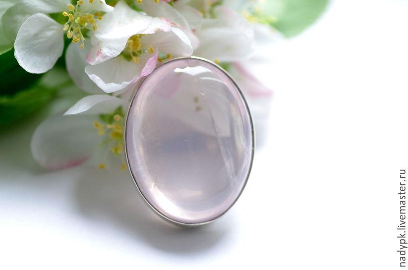 """Кольцо с большим  розовым кварцем """"Яблони в цвету"""", серебро, Кольца, Москва, Фото №1"""