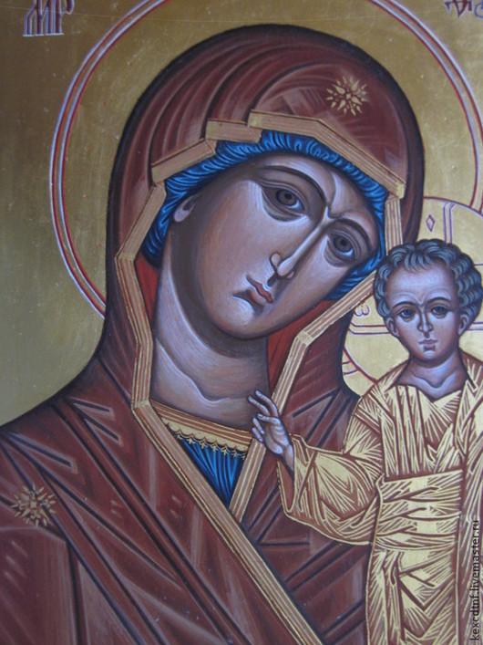Фрагмент иконы Казанской Божией Матери.