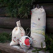 Подарки к праздникам ручной работы. Ярмарка Мастеров - ручная работа Льняной новогодний набор Снегири...Роспись.. Handmade.
