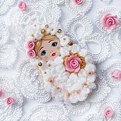 Украшения handmade. Livemaster - original item Matryoshka brooch with a pink rose. Handmade.