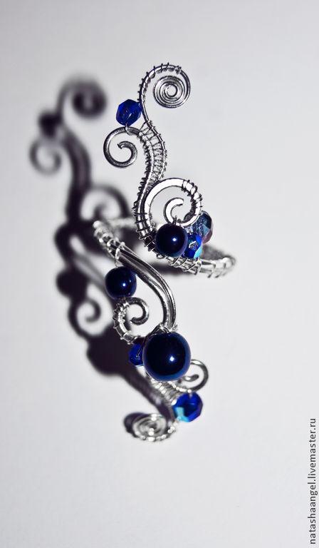 """Кольца ручной работы. Ярмарка Мастеров - ручная работа. Купить Крупное кольцо с камнем """"Синий цвет"""" (синие украшения, серебряный цвет. Handmade."""