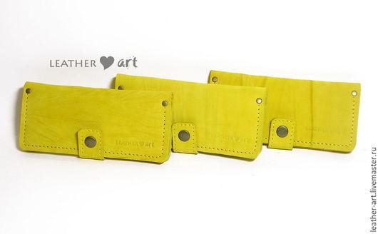 Кошельки и визитницы ручной работы. Ярмарка Мастеров - ручная работа. Купить Кошелек кожаный женский желтый. Handmade. Желтый, портмоне