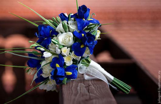 """Свадебные цветы ручной работы. Ярмарка Мастеров - ручная работа. Купить Свадебный букет """" Ирисы"""". Handmade. Тёмно-синий"""