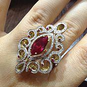 Украшения handmade. Livemaster - original item Fleur. Gold ring with rubies and diamonds. Handmade.