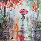 Картины и панно ручной работы. Ярмарка Мастеров - ручная работа Прогулка под дождем. Handmade.