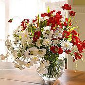 Цветы и флористика ручной работы. Ярмарка Мастеров - ручная работа Красное-белое, букет из полимерной глины-1. Handmade.