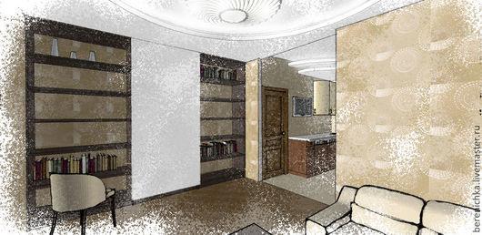 Гостиная в бежевых тонах с оригинальной стенкой со сдвижной панелью. Эскиз.