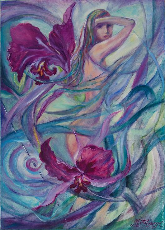 Картины цветов ручной работы. Ярмарка Мастеров - ручная работа. Купить Душа цветка. Орхидея.. Handmade. Орхидея, цветы, картина