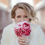 """Свадебный салон ручной работы. Ярмарка Мастеров - ручная работа Брошь-букет """"Розовые пионы"""". Handmade."""