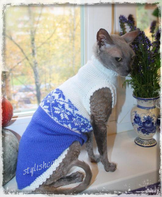 Одежда для кошек, ручной работы. Ярмарка Мастеров - ручная работа. Купить Свитер удлиненный для котов и кошек.. Handmade. Синий