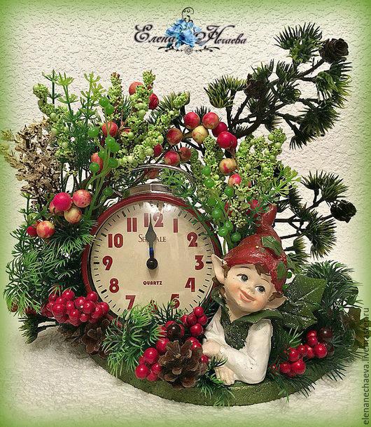 """Часы для дома ручной работы. Ярмарка Мастеров - ручная работа. Купить Интерьерные часы """"Лесной Эльф"""" интерьерная композиция. Handmade."""