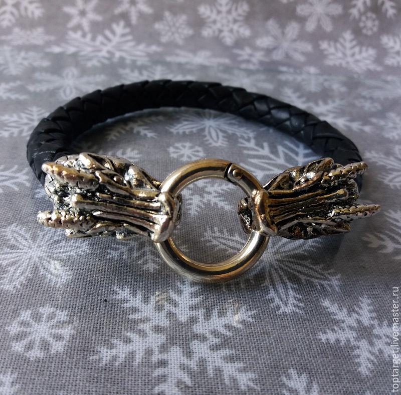 Мужской кожаный браслет с головами  дракона