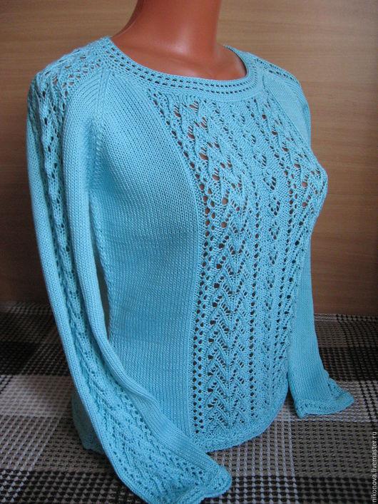 Кофты и свитера ручной работы. Ярмарка Мастеров - ручная работа. Купить Пуловер Прохлада. Handmade. Голубой, пуловер ажурный