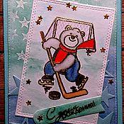 Открытки ручной работы. Ярмарка Мастеров - ручная работа Трус не играет в хоккей!. Handmade.