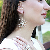 Украшения handmade. Livemaster - original item Polly Jewelry Set with silver pearls HH0024. Handmade.